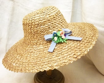 Vintage Italian sun hat in straw of Florence with millinery felt flowers decoration years 1950's, italian straw hat, vintage hat wide brim