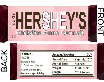 IT'S A GIRL Birth Announcement Hershey's Printable Candy Bar Wrappers ~ Download ~ D.I.Y.