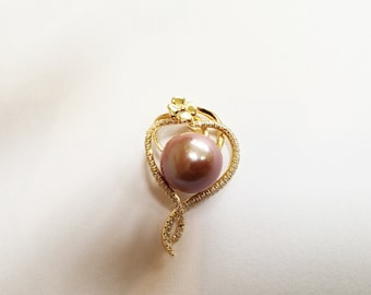 11-12 mm Genuine Edison Freshwater Pearl with Solid Sterling Silver S925 Pendant Necklace, Natural Freshwater Baroque Pearl, Bridal necklace