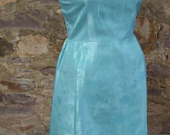 aqua blue EMBOSSED TAFFETA vintage DRESS party S (B4)