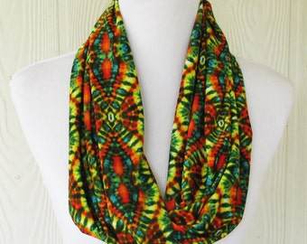 Colorful Tribal Print Infinity Scarf, Women's Scarf , Circle Scarf, Loop Scarf, Necklace Scarf, Scarves, Eclectasie