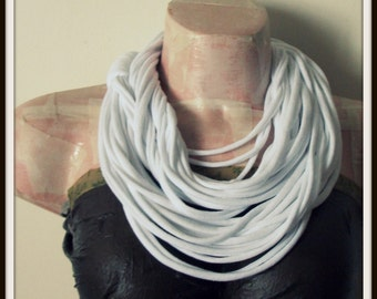 White Infinity Multi Strand T shirt Jersey Scarf