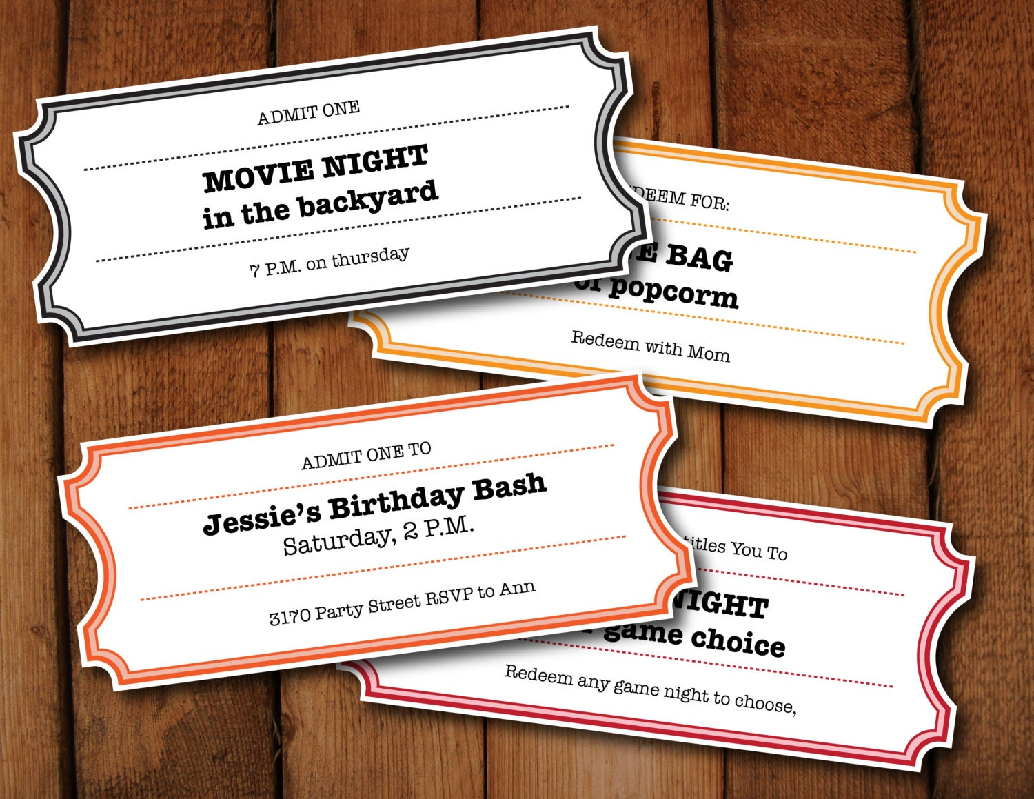 Printable Coupons Tickets Vouchers Movie Night Colors