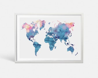 Watercolor world map etsy world map poster blue watercolor world map art push pin map of the world travel map gumiabroncs Choice Image