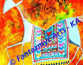 Warli Art - Orange horse