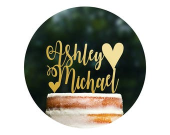 Unique Name Cake Topper, Wedding Name Sign, Wedding Cake Topper Rustic, Calligraphy Cake Topper, Cake Topper, Wedding Cake Topper (T375)