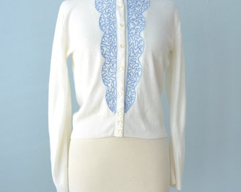 Vintage 1950s Sweater...AMERICANA White Sweater Cardigan