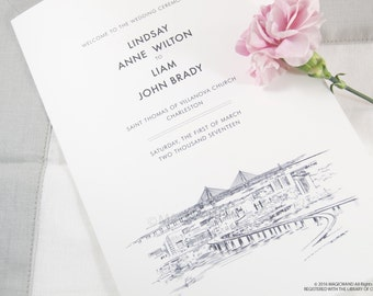 Charleston Skyline Wedding Programs (set of 25 cards)
