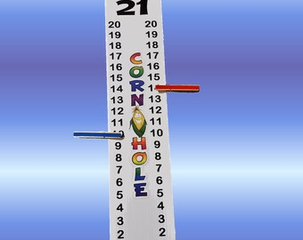 "Cornhole Scoreboard Score Keeper - Full Color ""Corn Hole"" & Cartoon Corn Cob - With Bracket Easily Attach to a Pole"