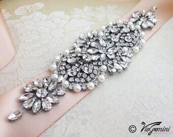 Wedding Sash belt, Bridal Sash belt, Rhinestone Sash, Blush Sash, Rose Gold Sash