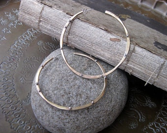 Large Bronze and Silver Hoop Earrings