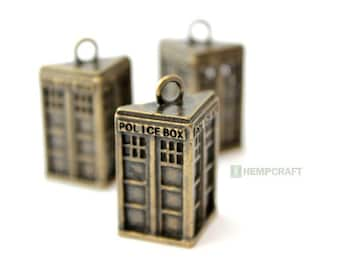 Bronze Police Box Charms, 3pc Pendants, Large Bronze Metal Charms, 29x19mm (Limited Quantity)