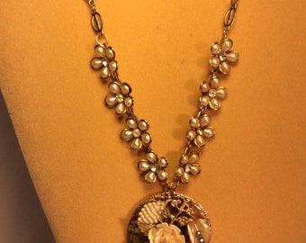Vintage Shabby Chic Gold Assemblage Necklace