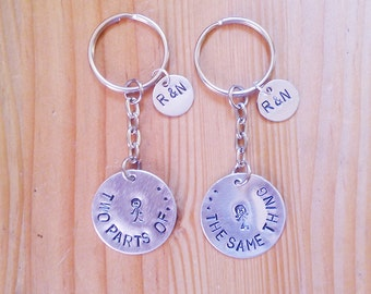 2 PCS Anniversary key chain with initials, custom keychain, couple keychain, wedding favors, party favors, metal stamped