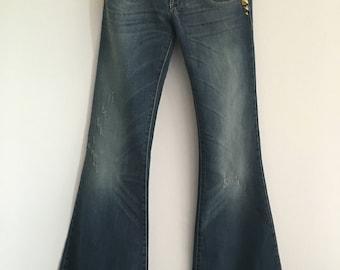 60s 70s Met Bell Bottom Jeans - Womens Jeans - Bell Bottoms - Bellbottoms - Vintage Denim - 60s - 70s - Hippie Hippy - Boho Bohemain