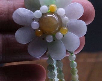 Floral Jadeite Magnificent Beaded Gem Certified Type A Delicacy!