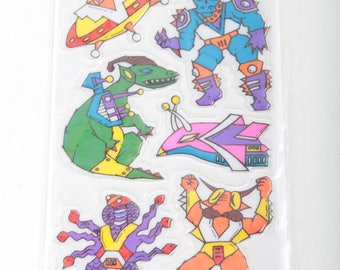 Happy, Stickers, Alien, Robot, Lizards, 1980s, Cartoon, Vintage, Set, Cute, Colorful, Plastic, Puffy Decorations ~ The Pink Room ~ G-15