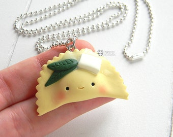 Ravioli butter and sage kawaii necklace, Agnoletto, PastAllegra, Italian kawaii Pasta made in Italy!