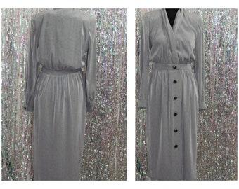 80's  Leslie Fay Grey Dress (8)