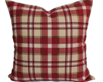 Plaid pillow cover, Red throw pillow, Red decorative pillow, Red accent pillow, Sofa cushion, Lumbar pillow cover, 5 sizes available