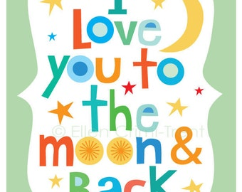Kids Wall Art-- Typography- I love you to the moon and back for boys