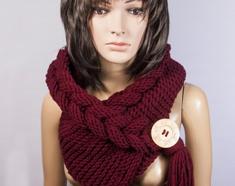 Hooded Scarf, Scarf, Hood, scarf hooded, Chunky scarf, Wool cowl | 577