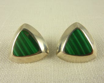 Vintage Sterling and Malachite Triangular Earrings