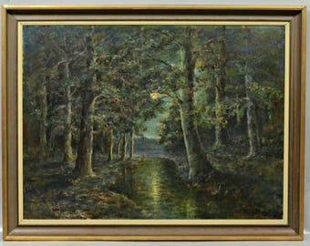 """William Savery Bucklin (American, 1851-1928) Oil on canvas Painting """"Moonlit Forest"""" Circa 1890's, Signed, Landscape painting, Framed art"""