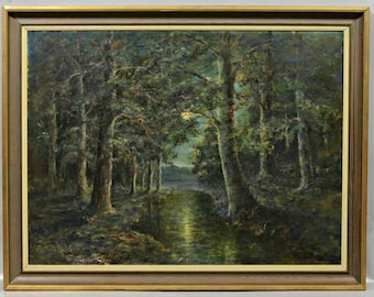 Vintage Oil Painting on canvas Moonlit Forest Original Landscape Painting, Wood Painting Signed art WILLIAM S. BUCKLIN