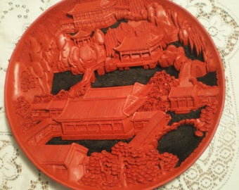 Vintage Oriental Red Lacquerware Disc**Intricate and Finely Detailed**