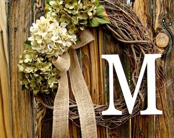 Green And Cream Hydrangea Wreath, Wreath With Monogram, Wreath, Door Wreath,  Fall Wreath, Year Round Wreath, Initial Wreath , Wreaths
