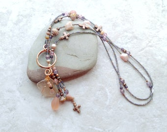 Pink and copper lariat, pink opal necklace, october birthstone, cross necklace, gifts for women, anniversary gift for wife, spring fashion