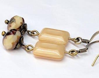 Cream Glass Bead Earrings, Dangle Drop Earrings, Czech Glass Beads, Antique Bronze Earrings, Boho Chic Jewelry, Unique Gift For Her