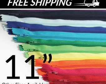 11 inch Zippers - You Pick Colors