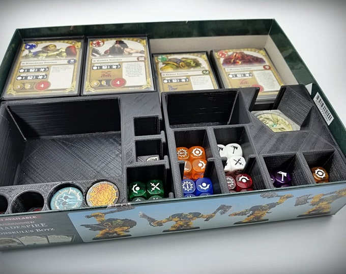 Shadespire Box Inserts - DIGITAL FILES - Holds all tokens, cards, and dice for all eight warbands, plus room to spare!
