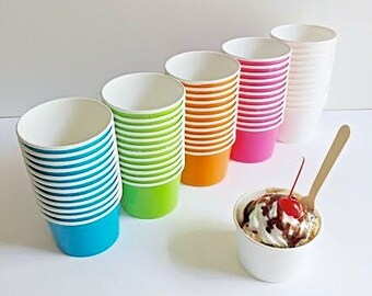 25 Ice Cream Cups, Small Fruit Bowl, 4 oz.  Paper Ice cream party cups- Wooden SPOONS OR LIDS option! Candy cups