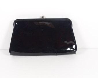Vintage Black Patent Leather Clutch HL USA Evening Bag