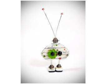 Robot Sculpture - Robot Figurine - Robot Decor - Robot Art - Fused Glass Robot - Fused Glass Art - Geek Gift - Deck Decor  Mixed Media Robot