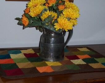 Autumn Table Runner, Knit Fall Table Mat, Thanksgiving Table Mat, Rustic Dresser Scarf, Thanksgiving Runner, Autumn Table Linen