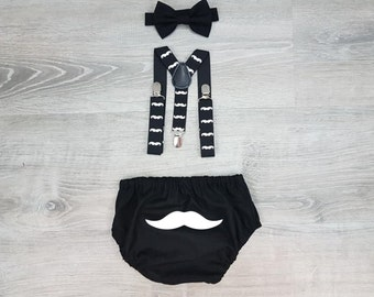 Mr Onederful Cake Smash Boy Outfit, Black Diaper Cover, Bow tie and Suspender, 1st Birthday Boy, Bowtie baby outfit, Bowtie birthday outfit