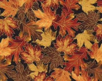 Timeless Treasures Packed Autumn Leaves W/Metallic