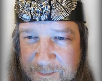 Winged Lion Headpiece, Mens Headpiece, Roaring Lion, Manticore Headpiece, reenact, Burning Man, Ren Fair, Black Leather, Mens Headpiece