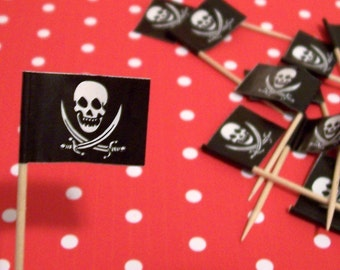 24 Pirate Flag Cupcake Picks