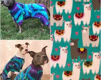 Llamas Dog Pajamas, Fleece Dog Pajamas, Dog PJs, Dog Jammies, Dog Pyjamas, Dog Clothes, Dog Clothing, Large Dog Clothes, Cute Dog Clothes