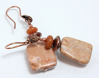Graphic Peach Marble and Copper Earrings