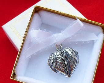 Sterling Angel Wing Heart Photo Locket Pendant Personalize Notes Heirloom Locket for Mom Memorial Charm Handmade in USA Gift Boxed Necklace