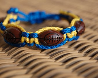 Royal Blue and Yellow Gold Football Bracelet /  Trendy Football Mom / Football / Football Team / Gift Exchange / Goody Bag / Sports Jewelry