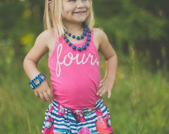 Girls Birthday outfit, 3rd birthday shirt,ANY AGE, girls Birthday shirt and skirt