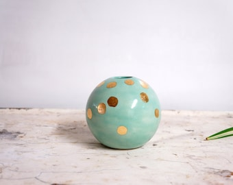 mint and gold ball vase