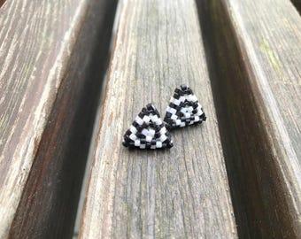 Beaded earrings, Triangle earrings, Small earrings, stud earrings, Elegant earrings, Gift for her, Handmade earrings, Tribal earrings, boho